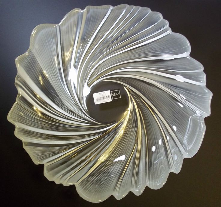 "Mikasa crystal platter 13"" SPUN SILK clear & frosted ..."