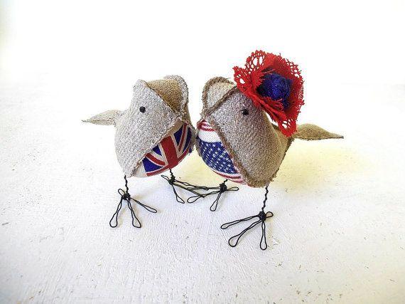 Wedding Cake Topper UK US Love Birds Soft Sculptures Rustic