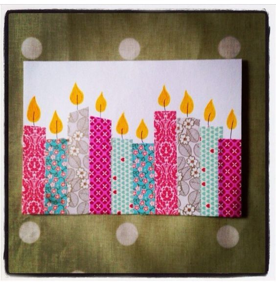 handmade birthday card ... washi tape candles with stamped flames ... great way…