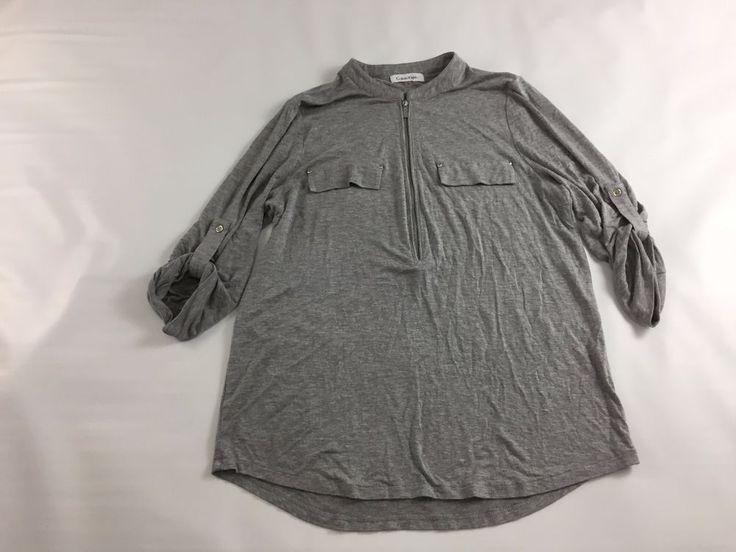 Calvin Klein women's Gray Shirt Crew Neck Zipper Flap Pocket 3/4 Sleeves size M #CalvinKlein #Crewneck