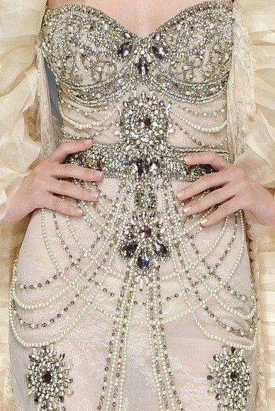 luxury beading on this gorgeous dress.