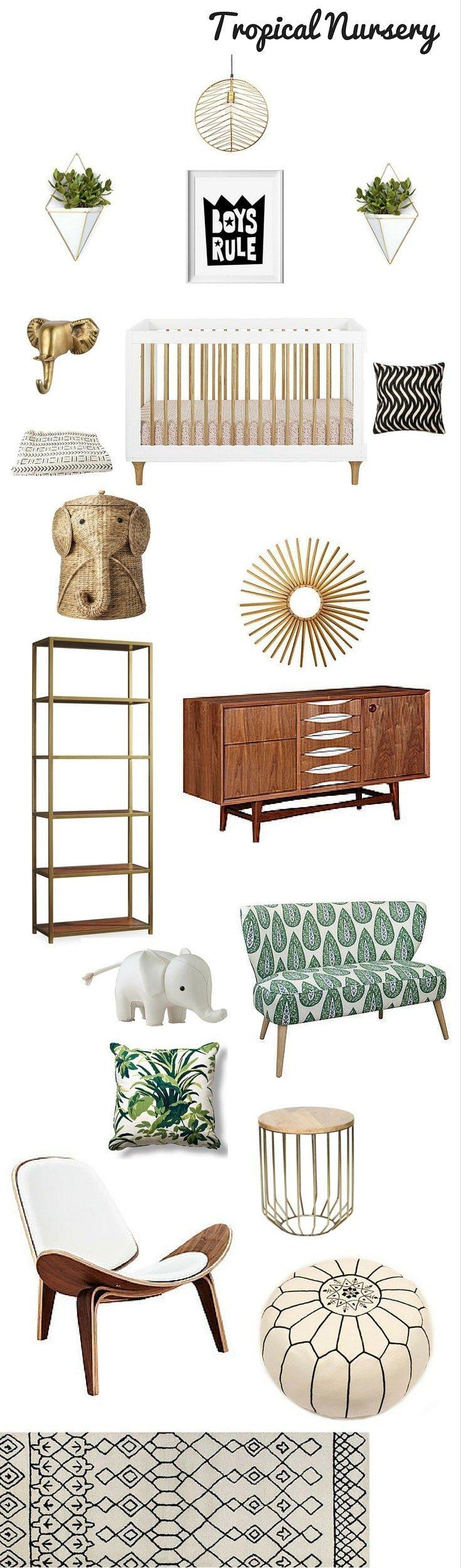 tropical nursery design / mid century modern nursery decor