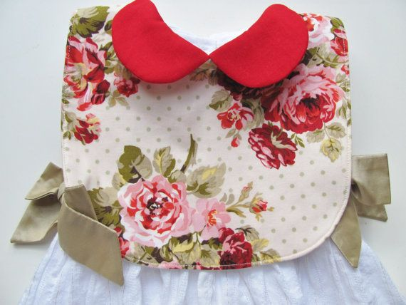 Baby girl bib / Collared bib / Chic baby bib /  floral by FHJBaby, $14.00