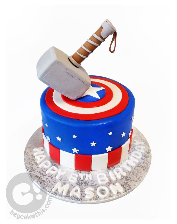 Captain America and Thor themed birthday cake! Captain America's shield with a sculpture of Thor's hammer Mjolnir on top!