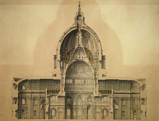 St Paul's Cathedral drawn to scale inside St. Peter's Basilica. I want this for my house!