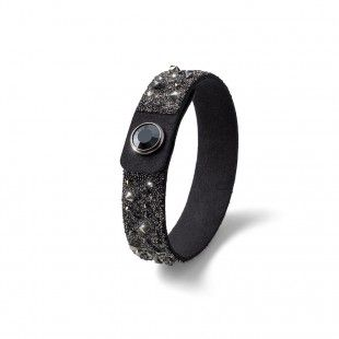 Oliver Weber Women black small disco bracelet glitter alcantara with Swarovski Crystals
