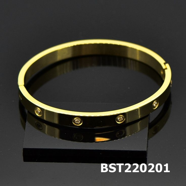 Stainless Steel Open Bangle with CZ Golden #BST220201