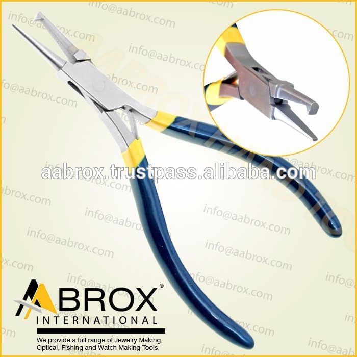 Model Number: AI-PP-105      Stainless Steel Ring Opening Piercing Pliers     12.5 cm.     Box Joint.     With or W/Out Spring.     Satin Finish.     Pvc (Any Color) Handle.     Also available in Plain Handle