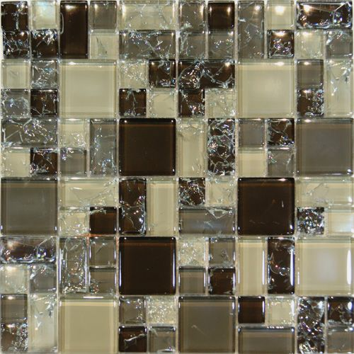 Sample Cream Crackle Glass Mosaic Tile Kitchen Backsplash: Brown Cream Beige Gray Square Pattern Crackle Glass Mosaic