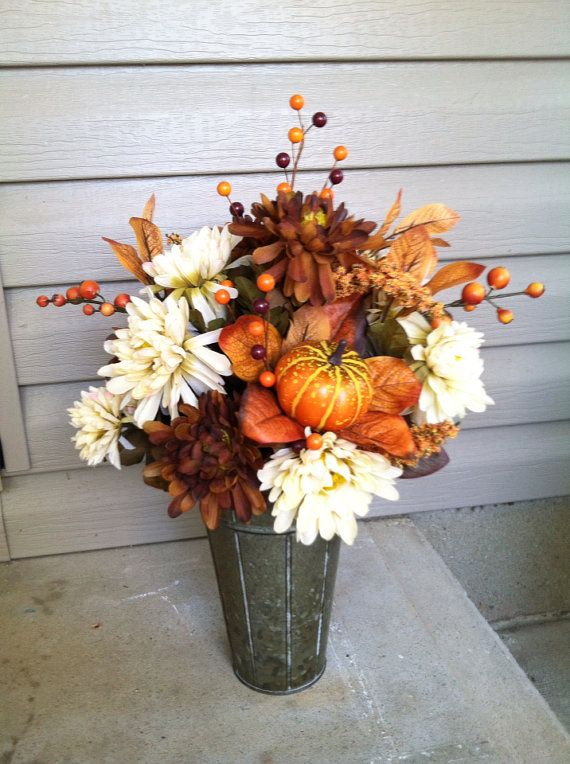 Traditional Handmade Modern Elegant Dried Silk Fall Floral Arrangement with Pumpkin for Thanksgiving Holiday Table Countertop on Etsy, $50.00