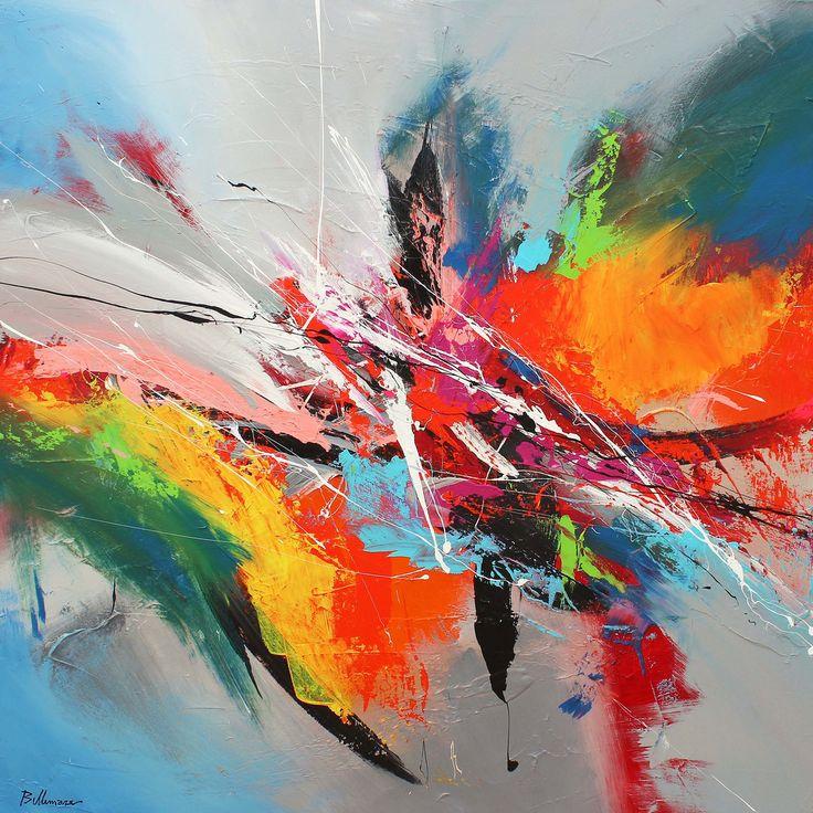"""""""Kyudo"""" de/by Pierre Bellamare - 48 x 48 huile sur toile/oil on canvas. J'ai vesiter une gallerie du groude Luxart au debute de l'ete et je suis tombe en amour avec plusieurs peinture de Pierre. Pierre maintenant donne dans l'abstrait et pratique le splash, c'est toile sont empreintes de joie de vivre, de soleil,. Il est malheureusement en dehors de mon budget. Si vous planifiez une visite a Montreal reservez-vous une journee pour marcher sur la rue St-Paul. Vous y trouverez des tresors."""