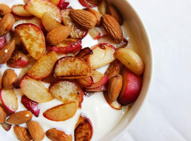 gebakken perziken met kwark