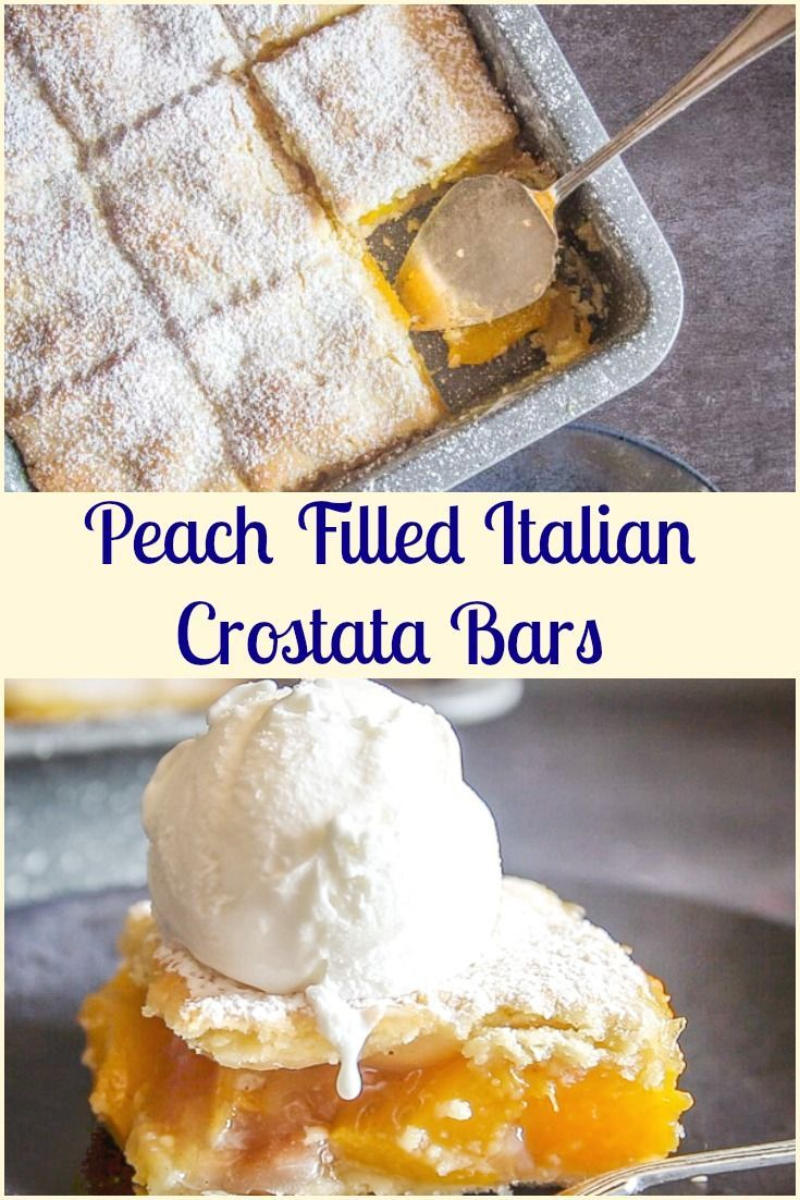 Italian Crostata Bars, an Italian pastry crust filled with a tasty peach filling, an easy fresh or canned Peach recipe.   via @https://it.pinterest.com/Italianinkitchn/