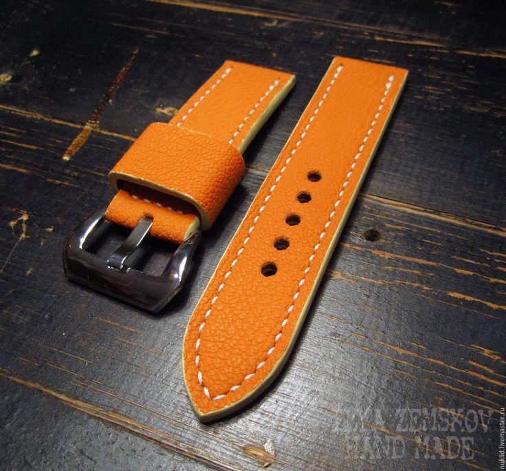 Купить Ремешок для часов Panerai - оранжевый, кожа, кожа натуральная, натуральная кожа, ремешок