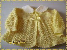 casaquinho para bebe tricotado com lã anti alergica cor amarelo