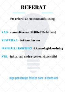 Hur skriver man ett referat? Titta på skrivmallen nedan. Du kan även titta i fliken stödstrukturer för att få hjälp att bygga upp texten. Bilden är gjord av Annika Sjödahl.