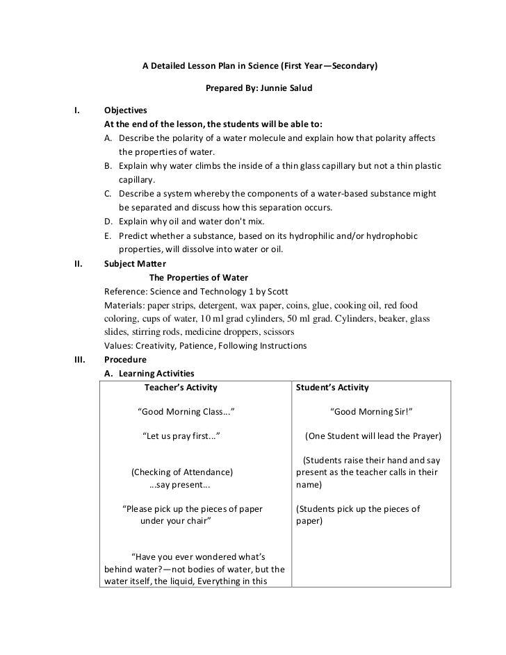 detailed lesson plan  english  math  science  filipino