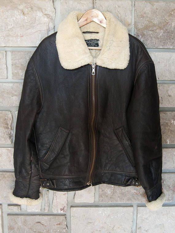 Vintage leather jacket for men. Brown flying jacket size 48 (XL). Sheepskin  collar and full sheepskin lining d53d3f1a3f9