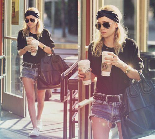 .: Outfits, Thick Headbands, Turban, Ashley Olsen, Olsen Style, Jeans Shorts, Lazy Hair, Denim Shorts, Starbucks