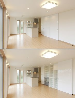 スライド引戸で全開口できる収納庫。キッチン家電から食品・食器類まで収納できます。可動棚で機能的に。個性的な形の食器も整然と収納できます。|キッチン|カウンター|壁面収納|ウッド|リビング|ダイニング|可動棚|