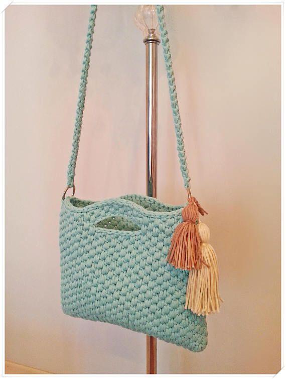 Crochet Bag, Crossbody Bag, Handbag, Crochet Purse, Boho Bag, Tshirt Yarn Bag, S…