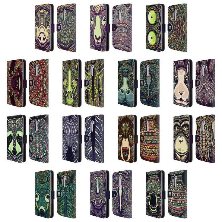 HEAD CASE DESIGNS AZTEC ANIMAL FACES 2 LEATHER BOOK WALLET CASE FOR LG PHONES 1…