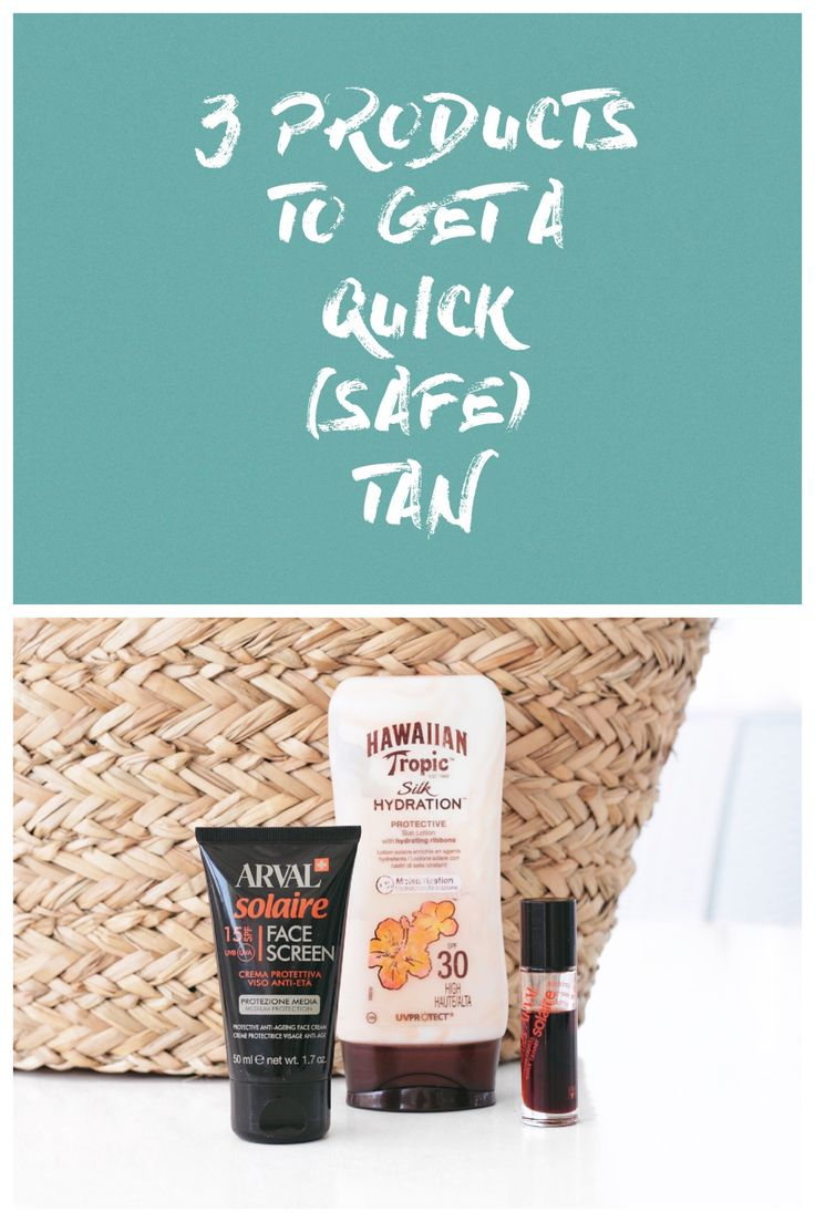 There are a couple of products I always bring with me to get a quick safe tan: Hawaiian Tropic Silk Hydration Protective Sun Lotion SPF30 & Arval Solaire Face Screen SPF15 & Arval Half Times Quick Tanner