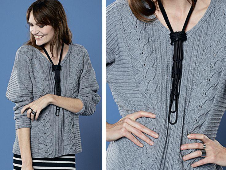 Серый пуловер с «косами» - схема вязания спицами. Вяжем Пуловеры на Verena.ru