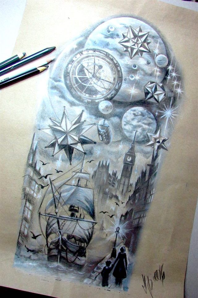 tattoo sleeve, black white clock , ship, moon.