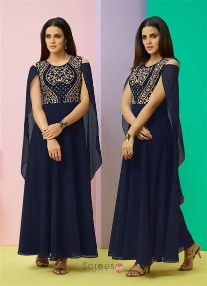 7e71f02233 Party wear georgette embroidery work kurtis wholesale collection online  shopping