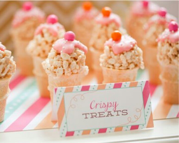 Rice crispy treats in mini cones with a little frosting on top. Too ...