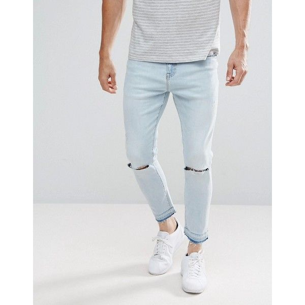 Stradivarius Slim Jeans With Knee Rips In Light Wash ($33) ❤ liked on Polyvore featuring men's fashion, men's clothing, men's jeans, blue, mens light wash jeans, mens blue jeans, mens blue ripped jeans, mens slim cut jeans and mens ripped jeans