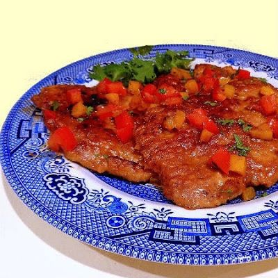 One Perfect Bite: Table for Two - Pork Cube Steaks with Peppers and Tomatoes