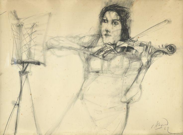 """""""Violinista"""" : Dibujo a Lápiz  Firmado C. Alonso y fechado """"62"""" Abajo a la Derecha."""