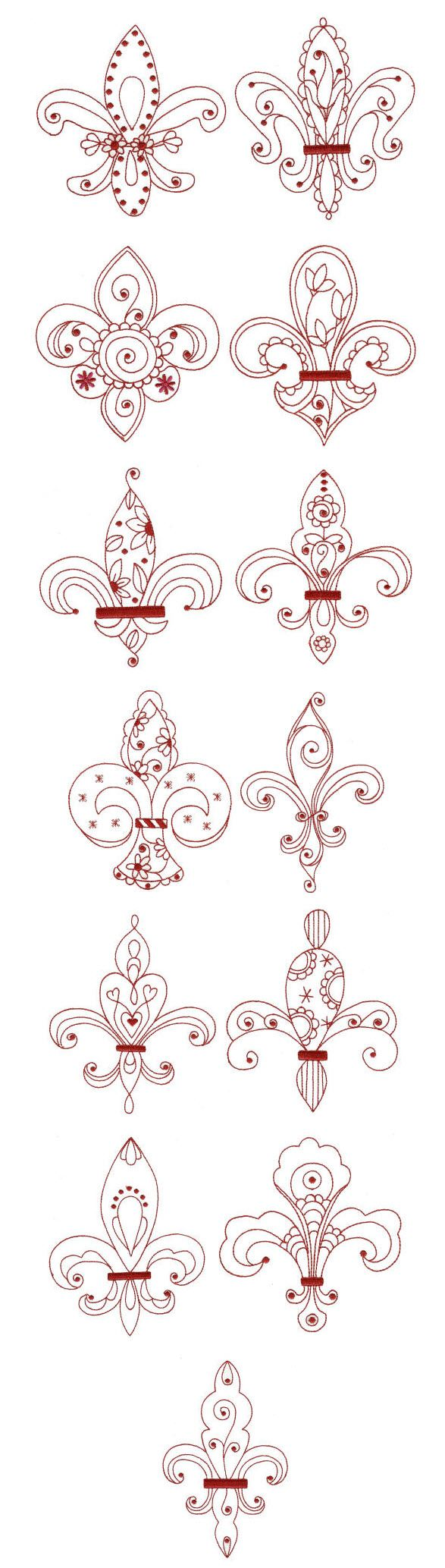 Embroidery | Redwork Machine Embroidery Designs | Fleur De Lis Redwork