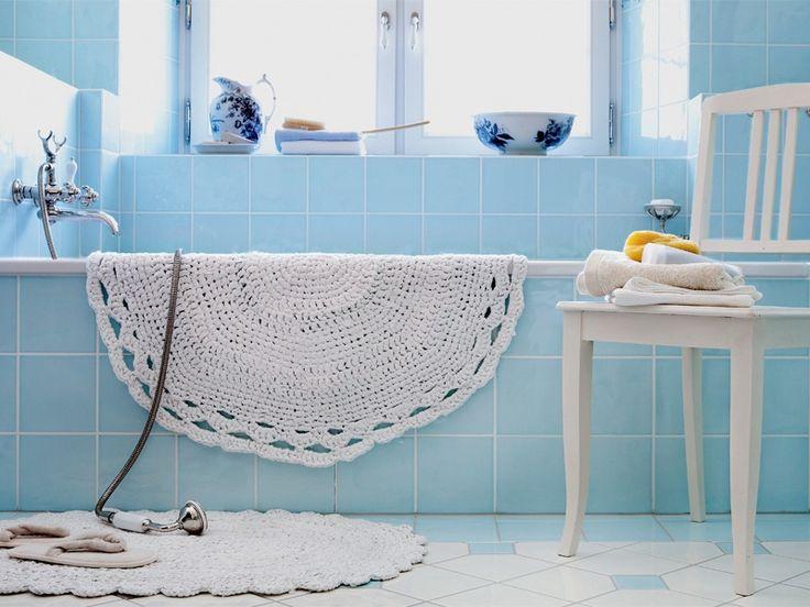 Schlichte, schöne Badezimmerteppich aus altem Bettlaken - Schritt für Schritt Anleitung auch als Pdf