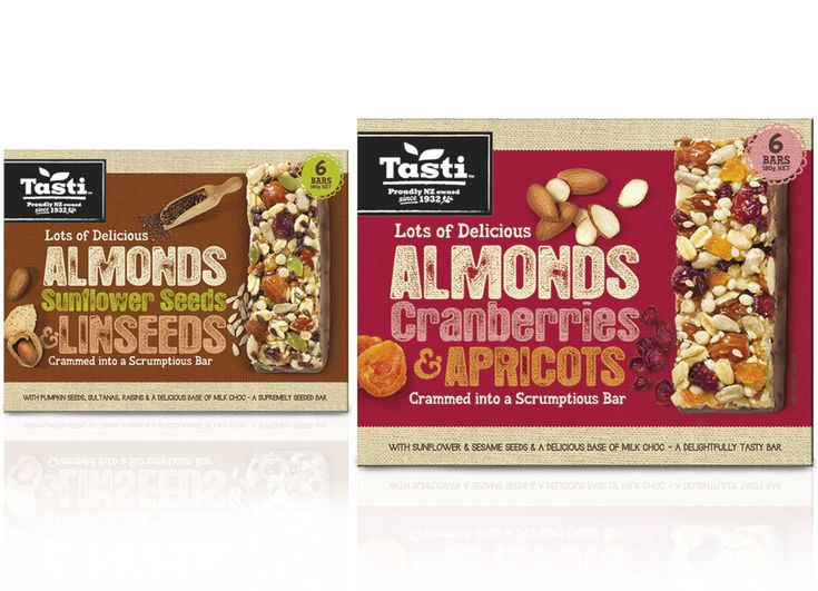 Snack food packaging designs, muesli and nut bars, designed by Brother Design
