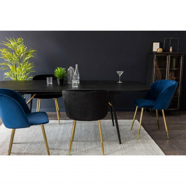 Vitikko 2 fauteuils de table velours et pieds dorés en