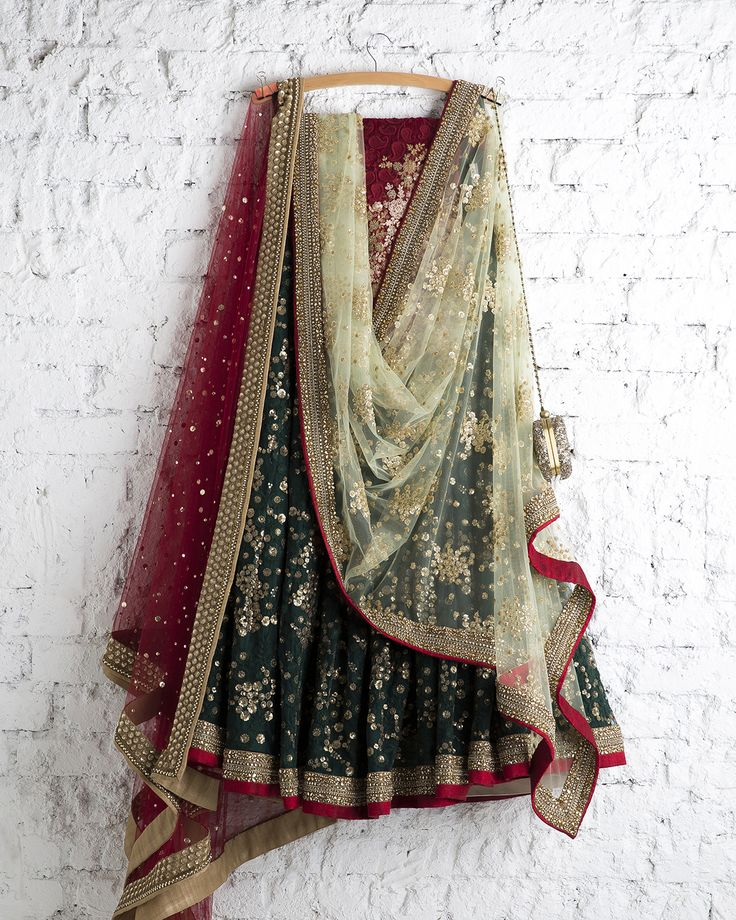 Bottle Green & Maroon Lehengas by SwatiManish