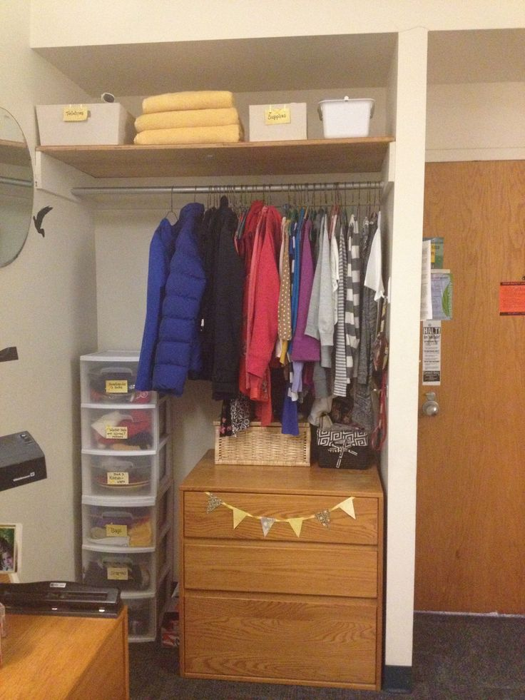 Dorm room closet organization Organization Pinterest