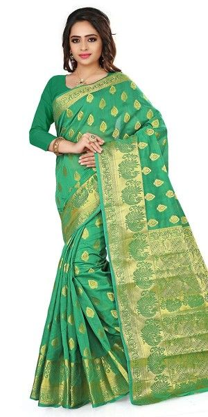 Blossom Green Cotton Saree With Blouse.