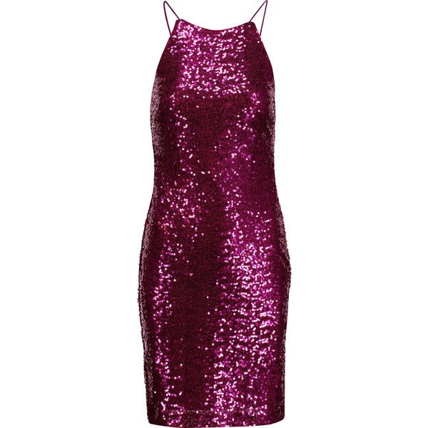 Badgley Mischka - Draped Sequined Tulle Dress (£155) ❤ liked on Polyvore featuring dresses, violet, red carpet dresses, embellished cocktail dress, glamorous dresses, purple cocktail dresses and violet dress