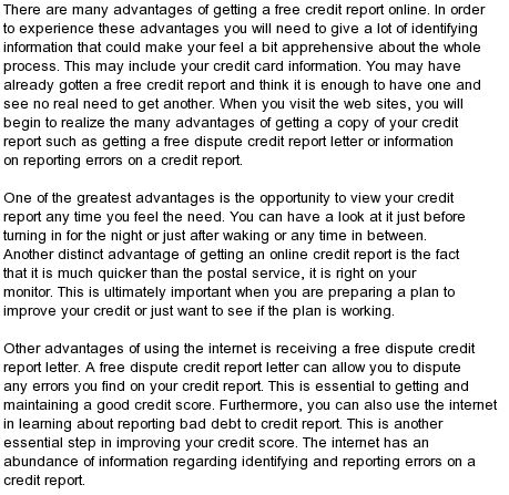 Get your free credit report online in seconds. Instantly get your free credit report and credit scores data by email or view online. Credit card not needed.