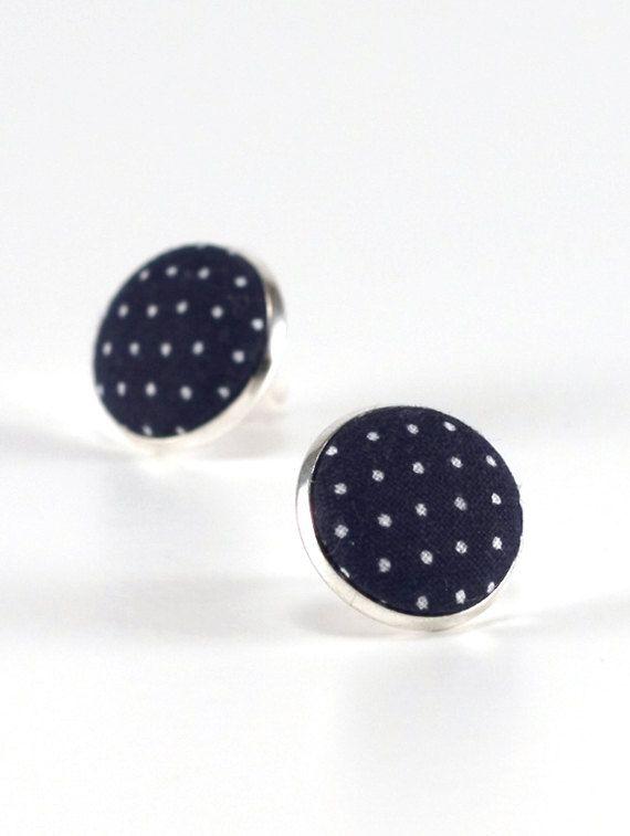 Blau Ohrstecker dunkel blau Polka Dots von PatchworkMillJewelry