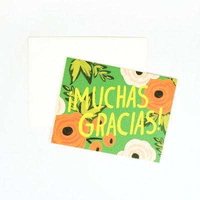 Rifle Paper Co Single Card - Muchas Gracias   Pony Lane