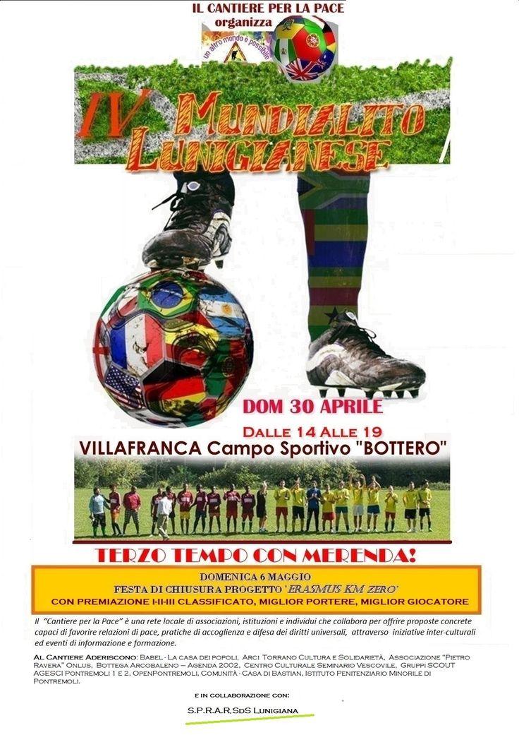 """#Lunigiana #eventi - Ritorna domenica al campo sportivo """"Bottero"""" di #Villafranca il torneo antirazzista più famoso della Lunigiana. L'associazione Babel - La Casa dei Popoli, il coordinamento """"Cantiere per la pace"""" e il progetto di accoglienza SPRAR SDS Lunigiana sono lieti di invitare la cittadinanza al IV #Mundialito Lunigianese, l'ormai tradizionale giornata che coinvolge team di centri e progetti di accoglienza (lunigianesi e non) e squadre locali.   Partite, sudore, sorrisi: un modo…"""