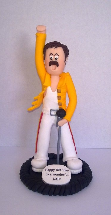 "Fimo ""LEGENDS"" cake topper FREDDIE MERCURY    Hand crafted Freddie figurine, in one of the outfits he wore live at Wembley. I can make other ""Legends"", Elvis, Dolly Parton, Michael Jackson etc....All priced the same.    £39.99"
