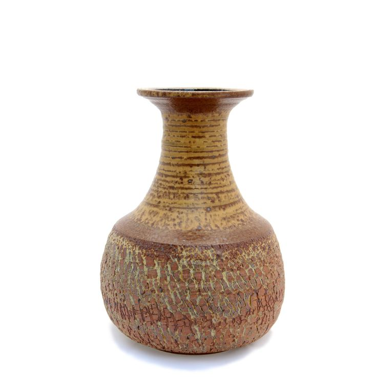 Brown and Tan Vase with Fractured Texture by LadybugSoapworks on Etsy