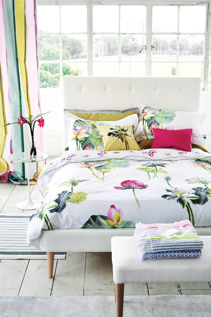 Delightful water lily design with large scale flowers and leaves as motif across this luxury cotton bedding range.