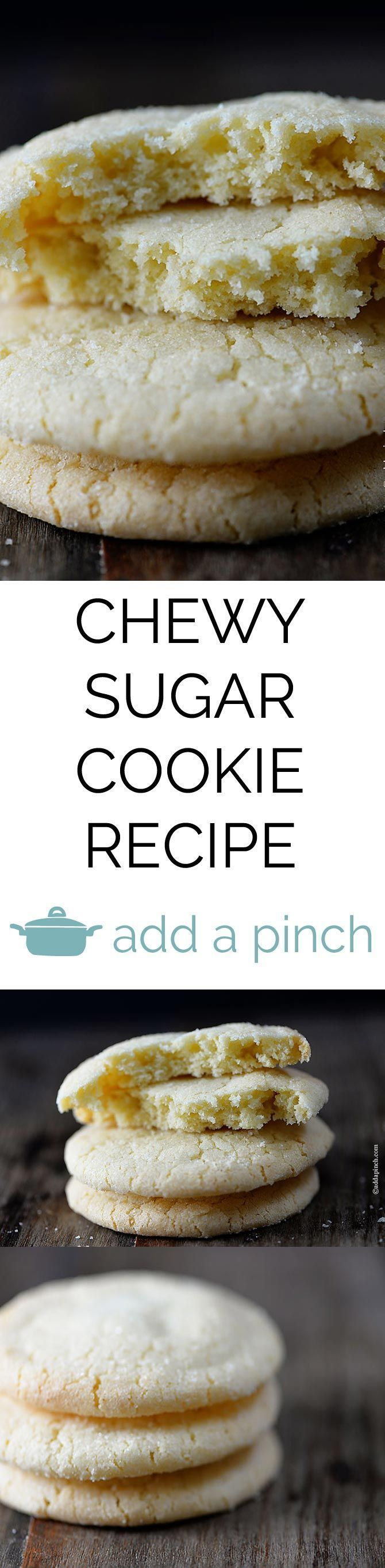 Sugar Cookie Recipe - These are my favorite sugar cookies! They are simple to make for parties or for snacking and they have a great chewy texture!  from addapinch.com